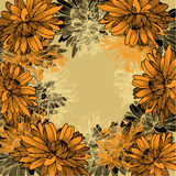 Floral background with yellow chrysanthemums. Hand Royalty Free Stock Photos