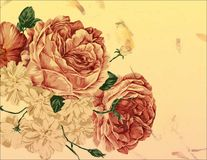 Floral background. A floral background in yellow with red roses Stock Image