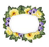 Floral background with yellow roses and pansies Royalty Free Stock Image