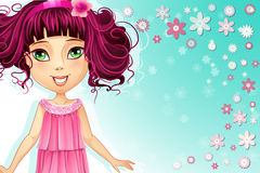 Floral background with a young girl in a pink dress.  Stock Image