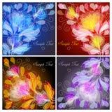 Floral backgrounds. Set of 4 floral backgrounds Stock Illustration