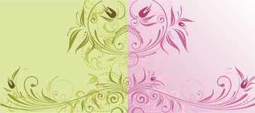 Floral backgrounds. Collection of floral green and pink backgrounds Stock Photography