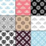 Floral backgrounds with colored seamless pattern. Design for wallpapers and textile Stock Image