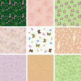 Floral backgrounds with flowers - vector seamless Royalty Free Stock Photos