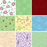 Floral backgrounds with flowers - vector seamless patterns Stock Photo