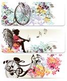Floral backgrounds set Stock Image