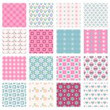 Floral backgrounds set. Daisies, tulips, hearts and squares seamless patterns Stock Photos