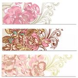 Floral backgrounds set with flowers Stock Photos