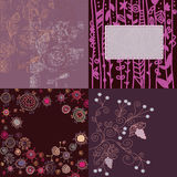 Floral backgrounds set hand drawn Royalty Free Stock Images