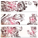 Floral backgrounds set with ornaments stock illustration
