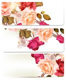 Floral backgrounds set with roses Royalty Free Stock Images