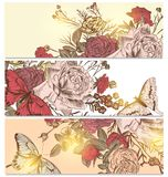 Floral  backgrounds set with roses and butterflies Stock Photography