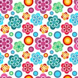 Floral backround. Cute seamless colorful floral pattern on white background Royalty Free Stock Photos