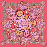 Floral bandana print with ornamental border. Silk neck scarf with hand drawn flower. Summer kerchief square pattern design style for print on fabric. Vector Royalty Free Stock Image