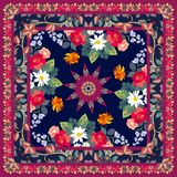 Floral bandana print with unusual double ornamental frame.  royalty free illustration