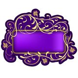 Floral banner 06. Highly detailed floral ornaments and violet glass banner Stock Photo