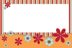 Floral banner. Illustration of striped banner in modern colours with stitched flowers stock illustration