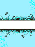 Floral banner. Illustration of floral elements on a blue background Royalty Free Stock Photo