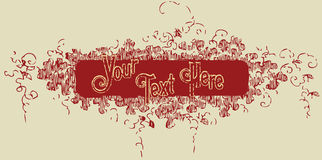 Floral banner. Vintage old t shirt design with sample text Royalty Free Stock Photography