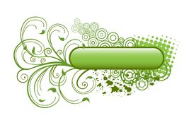Floral banner. Green floral banner with abstract circles and blobs Stock Photo