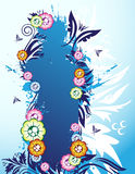 Floral banner. On the blue background Stock Photography