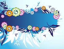 Floral banner. On the blue background Royalty Free Stock Photography
