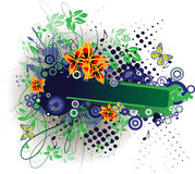 Floral banner. Banner with floral and other design elements for your business promotion Stock Photo
