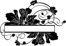 Floral banner. Black stencil for stickers Royalty Free Stock Photo