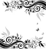 Floral banner (black and white). Abstract floral banner (black and white Stock Photos