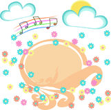 Floral banner with clouds, sun, music notes and space for text Royalty Free Stock Photo