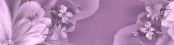 Floral banner in deep purples and pinks Royalty Free Stock Images