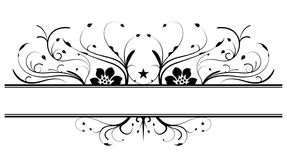 Floral banner design in black Royalty Free Stock Image