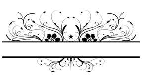 Floral banner design in black. Symmetric floral banner design in black Royalty Free Stock Image