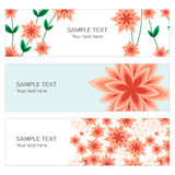 Floral banner with geometric peach flowers Royalty Free Stock Photography