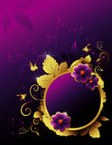 Floral  banner illustration. Over a purple background Royalty Free Stock Photos