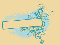 Floral banner ornaments. Vector illustration of abstract banner with ink stains and floral ornaments Stock Photos