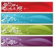 Floral banner set. Flowers Design background set (4 colors Royalty Free Stock Image
