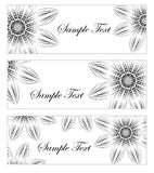 Floral banner set, in the style of hand drawing. Black and white flowers. Vector illustration. Royalty Free Stock Photography