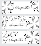 Floral banner set, in the style of hand drawing. Black and white flowers. Vector illustration Stock Photography
