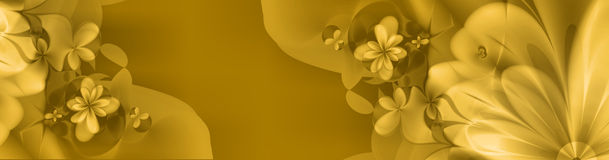 Floral banner in yellow and gold Royalty Free Stock Photos