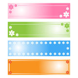 Floral banners. Set of four floral banners isolated on white in different colors:pink,green,blue,orange,useful for website or as labels.EPS file available Stock Photo