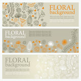 Floral banners. Horizontal floral banners with place for your text Stock Photos