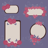 Floral banners. Violet retro stylized floral banners stock illustration