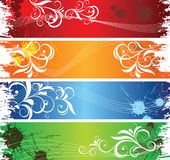Floral banners. Horizontal colorful floral banners with grunge elements Stock Images