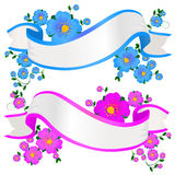 Floral banners. Two empty floral banners in pink and blue colors Royalty Free Stock Photography