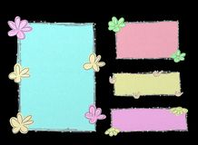Floral banners. Colorful floral banners in black background Royalty Free Stock Image