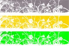 Floral banners. Three Floral website banners over white Royalty Free Stock Photos