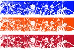 Floral banners. Three Floral website banners over white Stock Images