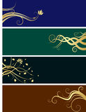 Floral banners. A set of four floral banners, dark colors backgrounds Royalty Free Stock Images