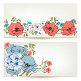Floral  banners. Flowers and leaves header set Royalty Free Stock Images